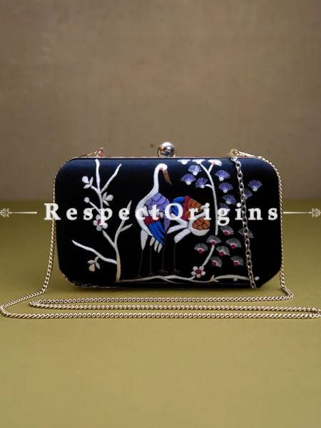 Black Parsi Gara Embroidery Clutch with Crane pattern and Hard  Purse With Detachable Metal Strap; RespectOrigins.com