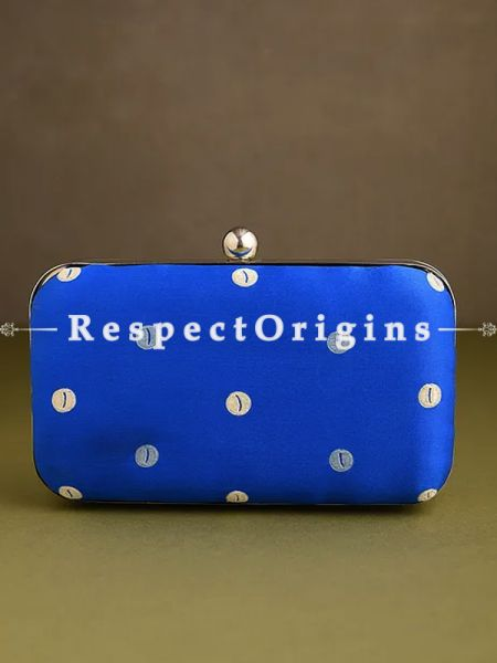 Blue Parsi Gara Embroidery hard Clutch Purse with Detachable Metal Strap.; RespectOrigins.com