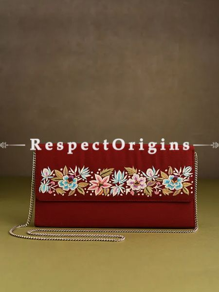 Red Parsi Gara Embroidery hard Clutch Purse Flap Style With Detachable Metal Strap.; RespectOrigins.com