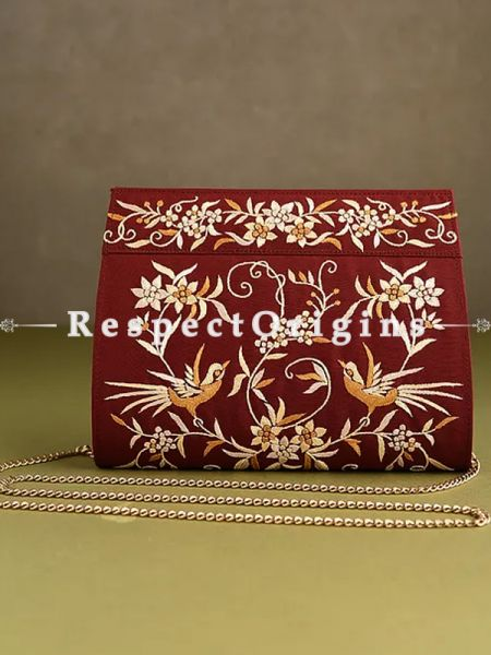 Red Parsi Gara Embroidery Clutch With Detachable Metal Strap and Gul-e-bulbul pattern in Golden embroidery.; RespectOrigins.com