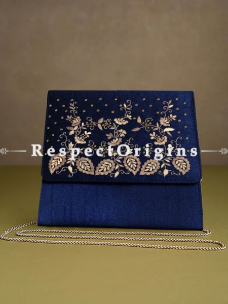 Blue Parsi Gara Embroidery Clutch with Leafy pattern and Detachable Metal Strap.; RespectOrigins.com