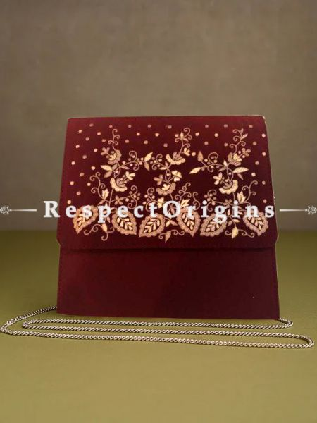 Red Parsi Gara Embroidery Clutch with Leafy pattern and Detachable Metal Strap.; RespectOrigins.com