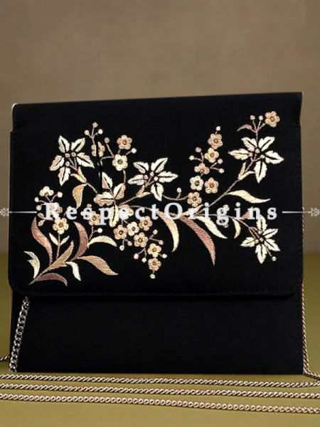 Black Parsi Gara Embroidery Clutch Lily Spray pattern and Detachable Metal Strap.; RespectOrigins.com