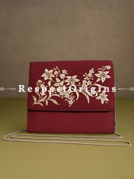 Red Parsi Gara Embroidery Clutch Lily Spray pattern and Detachable Metal Strap.; RespectOrigins.com