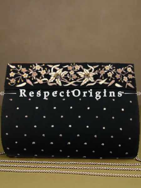 Black Parsi Gara Embroidery Clutch with Lily Border pattern and Detachable Metal Strap.; RespectOrigins.com