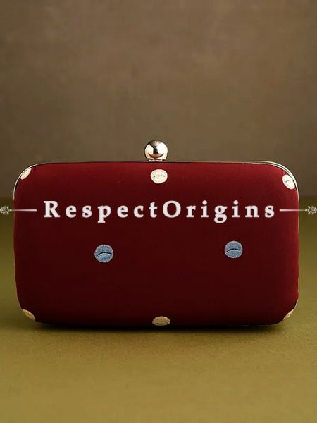 Red Parsi Gara Embroidery hard Clutch purse with Detachable Metal Strap.; RespectOrigins.com