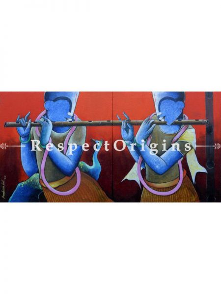 Krishna Playing his Flute; Contemporary Large Vertical Acrylic painting in 48x24 in; Original Artwork