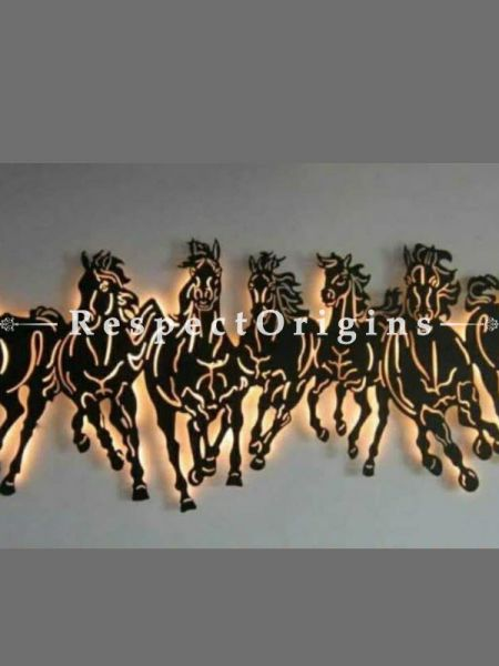 Buy Vaastu Running Horses in Handcrafted Metal Wall Art; Artisanal Wall Mural with Lighting. Size 36x12in At RespectOrigins.com