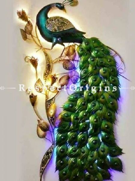 Buy Handcrafted Peacock on Tree; Artisanal Wall Mural with Lighting. Size 12x36in At RespectOrigins.com