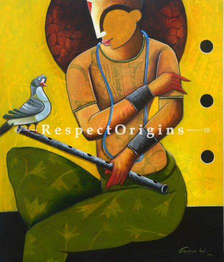 Buy Harmonious Stance in Contemporary Style; Horizontal Acrylic on Canvas painting in 30 X 36 inches; original Artwork;RespectOrigins.com