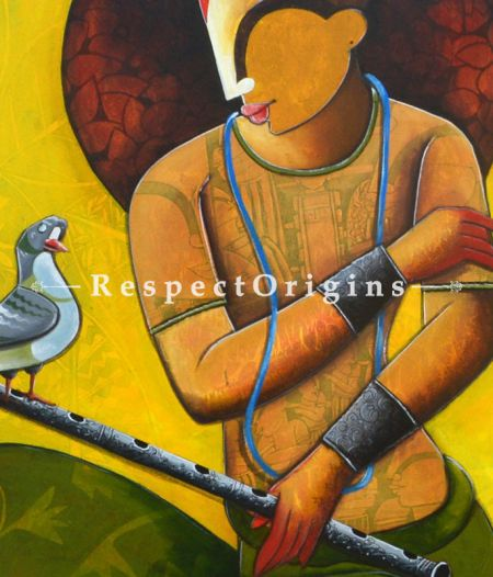 Krishna n Nature; Acrylic on Canvas painting in 30x36 in; Original Artwork