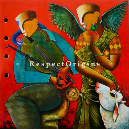 Buy Wondrous Beauty in Contemporary Style; Horizontal Acrylic on Canvas painting in 48 X 48 inches; original Artwork;RespectOrigins.com
