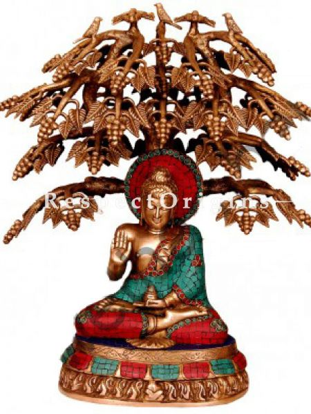 Buy Handcrafted Brass Buddha Under Tree Statue; Turquoise Work At RespectOrigins.com