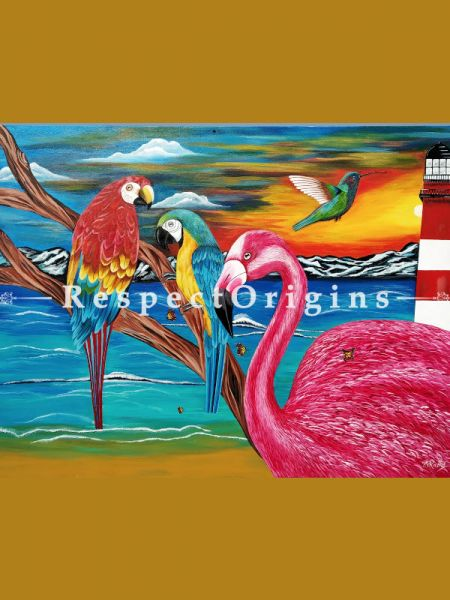 Horizontal Art Painting of Harmony ;Acrylic on Canvas; 48in X 36in at RespectOrigins.com