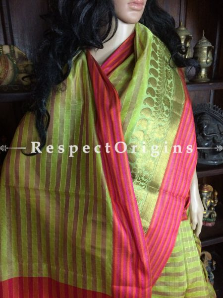 Green Handwoven Banarasi Cotton Silk Saree; Zari Border & Butis; RespectOrigins.com