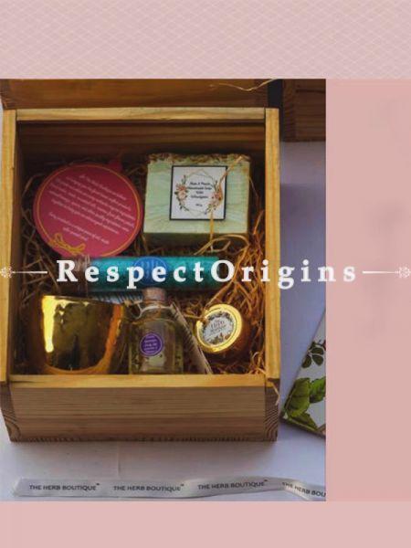 Gift Box; Handmade Soap,Bath Salt,Brass Tea Light,Body Oil & Lip Balm; RespectOrigins.com