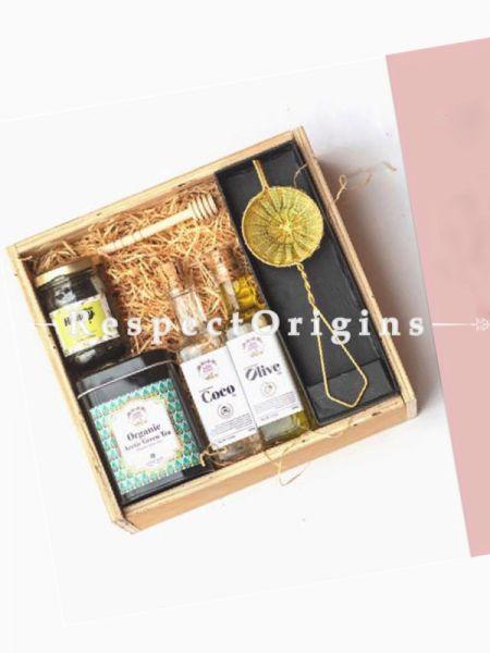 Gift Box; Exotic Teas, Flavoured Honey,Honey Dipper,Organic Oils & Brass Tea Strainer; RespectOrigins.com
