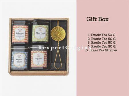 Tea Gift Box; Pack of 4 Exotic Teas 50 Gms Each & Brass Tea Strainer; RespectOrigins.com