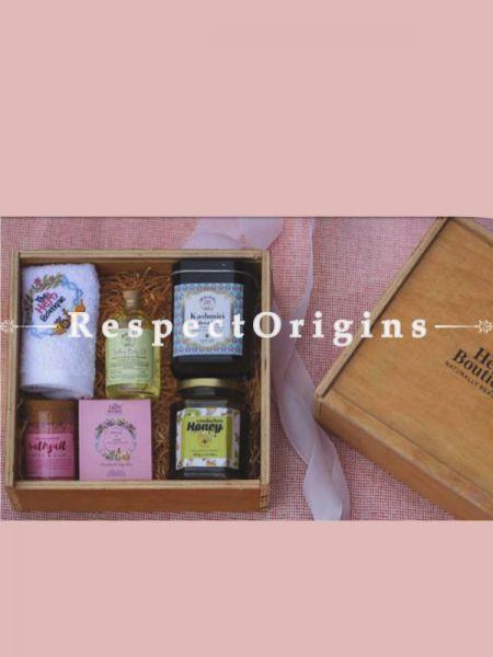 Gift Box; Handmade Soap,Body Oil, Bath Salt,Exotic Tea, Flavored Honey & Face Towel; RespectOrigins.com