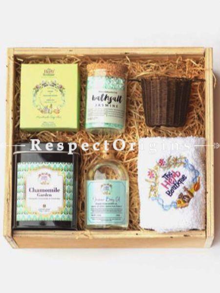 Wellness GiftBox - Handmade and Natural Soap,Bath Salt,Bras Tea Strainer,Exotic Tea,Body Oil and Face Towel; RespectOrigins.com