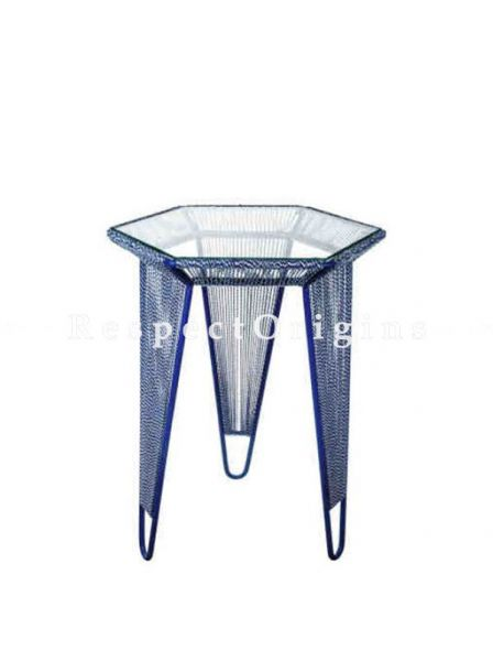 Buy Blue Iron Hexagon Table in 17.75in x21in At RespectOrigins.com