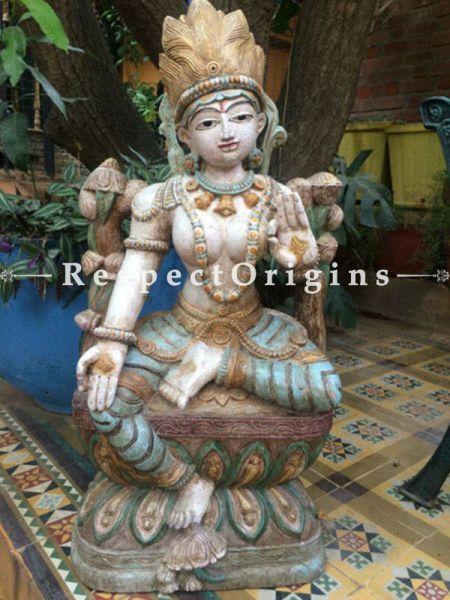 Buy Lakshmi Statue or Figurine; Beige, Tamil Nadu Wood Craft, 37x8x18 in At RespectOrigins.com