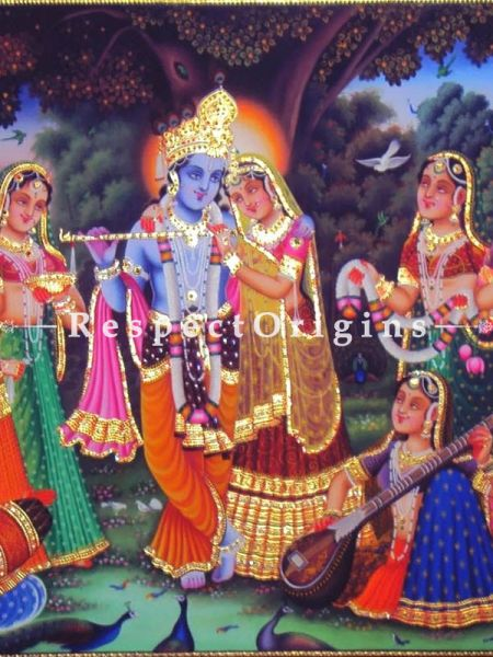 Buy Horizontal Pichwai Painting of Krishna with Gopies in 36 x 60 in size  Respect Origins