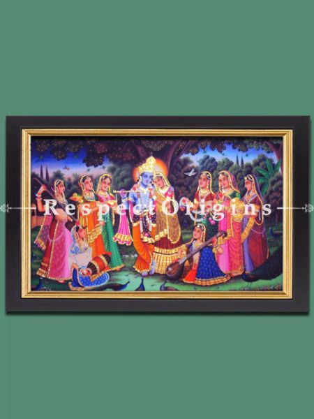 Pichwai Painting of Krishna with Gopies; 36 x 60 inches