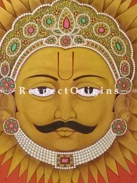Horizontal Pichwai Painting of Suryadev; 35x36 in