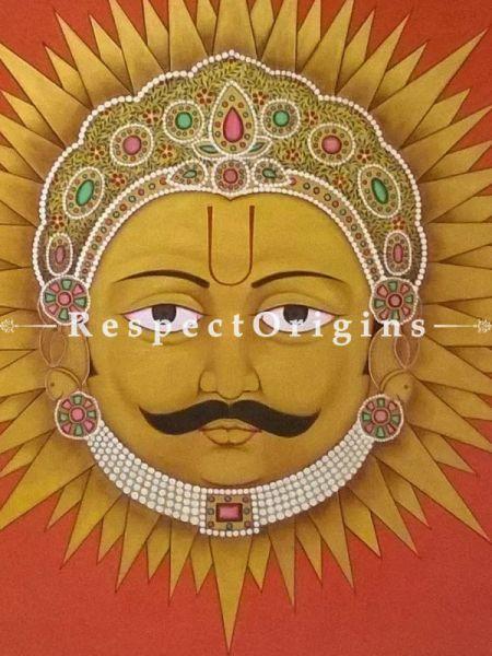 Buy Horizontal Pichwai Painting of Suryadev in 35 x 36 in size;RespectOrigins