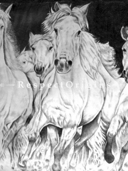Horses running Painting, Pencil on Paper - 22in x 15in |Buy Horses running Painting, Pencil on Paper - 22in x 15in  Online|RespectOrigins
