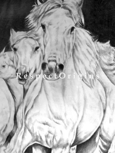 Horses Running - Hand PaintedPainting, Pencil On Paper - 22In x 15In