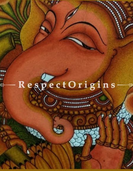 Ganesha; Kerala Mural Art or Painting on canvas; 13x18 in; Chuvarchithram