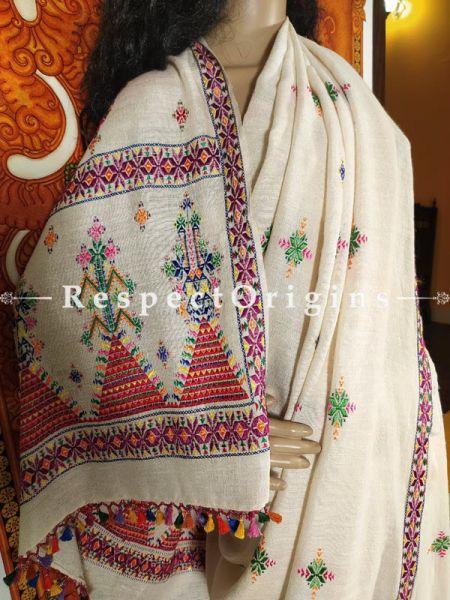 Ivory White Handloom Matka Silk Suf Hand-Embroidered Saree; Natural and Organic Online at RespectOrigins.com