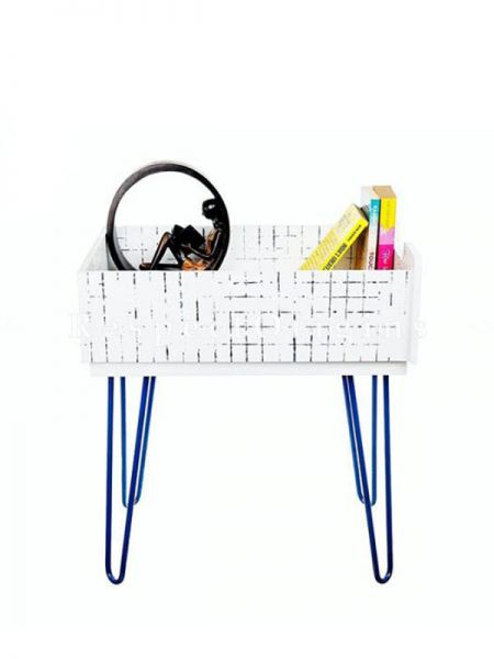 Buy Wood and Iron Storage Table in Ivory At RespectOrigins.com