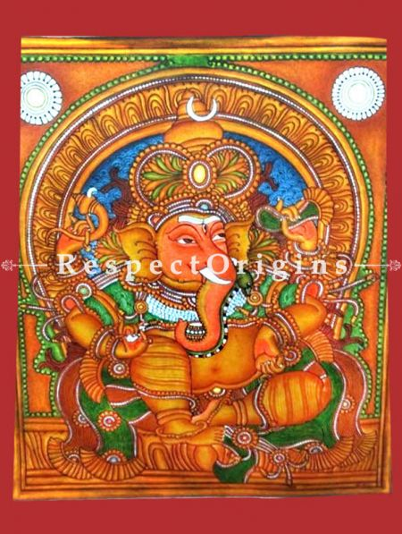 Ganesha; Kerala Mural Art or Painting on canvas; 20x23 in; Chuvarchithram
