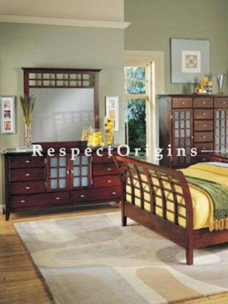 Buy Jamaica Solid Wood Bedroom Suite; Double Bed, Night Stand, Dresser with Mirror, Storage Bench At RespectOrigins.com