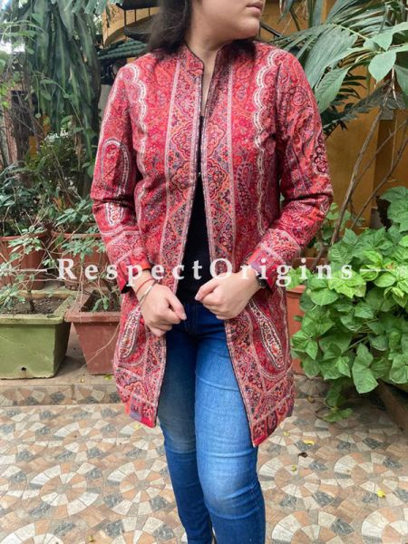 Luxurious Formal Ladies Designer Detailing Jamavar Jacket in Cotton Silk Blend; Silken Lining; RespectOrigins.com