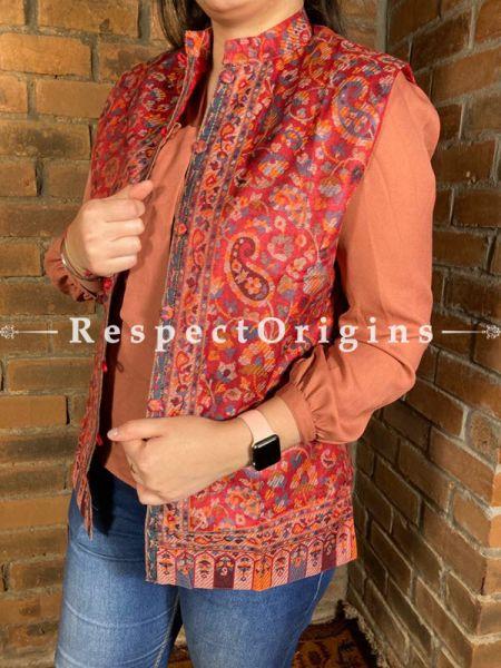 Charismatic Floral Design Formal Ladies Designer Detailing Jamavar Red Jacket in Cotton Silk Blend; Silken Lining; RespectOrigins.com