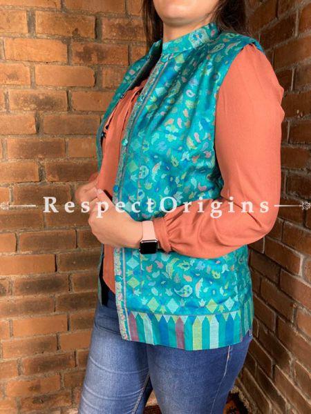 Beauteous Floral Design Formal Ladies Designer Detailing Jamavar Blue Jacket in cotton silk Blend; Silken Lining; RespectOrigins.com