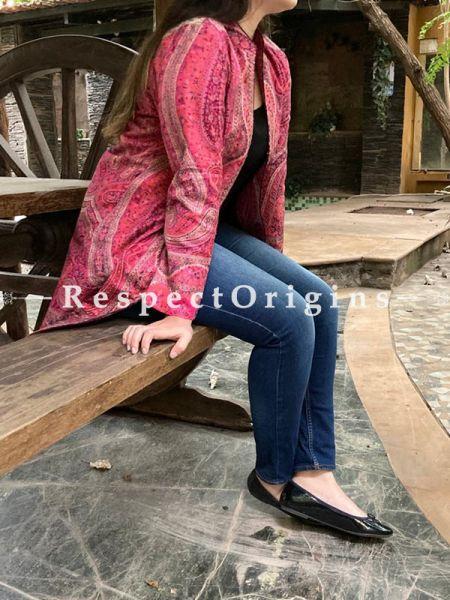 Pink Coloured Floral Design Formal Ladies Designer Detailing Jamavar Jacket in Cotton Silk Blend; Silken Lining; RespectOrigins.com