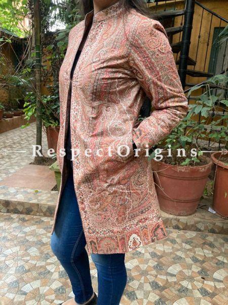 Floral Design Formal Ladies Designer Detailing Jamavar Multi-Coloured Jacket in Cotton Silk Blend; Silken Lining; RespectOrigins.com