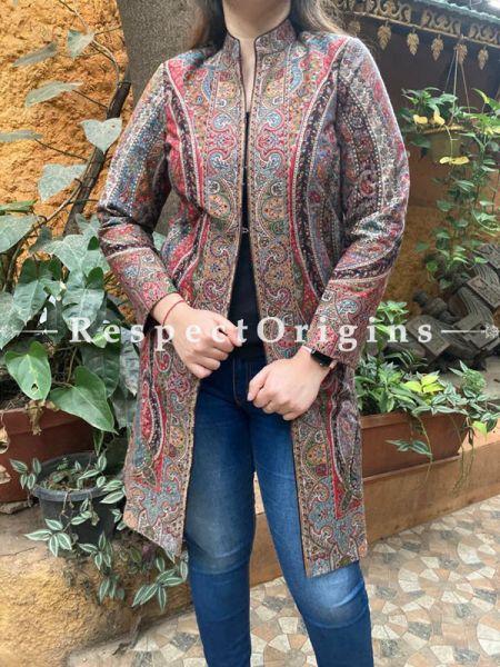 Stunning Floral Design Formal Ladies Designer Detailing Multi-Coloured Jamavar Jacket in Cotton Silk Blend; Silken Lining; RespectOrigins.com