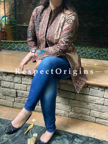 Gorgeous Floral Design Formal Ladies Designer Detailing Jamavar Multi-coloured Jacket in Cotton Silk Blend; Silken Lining; RespectOrigins.com