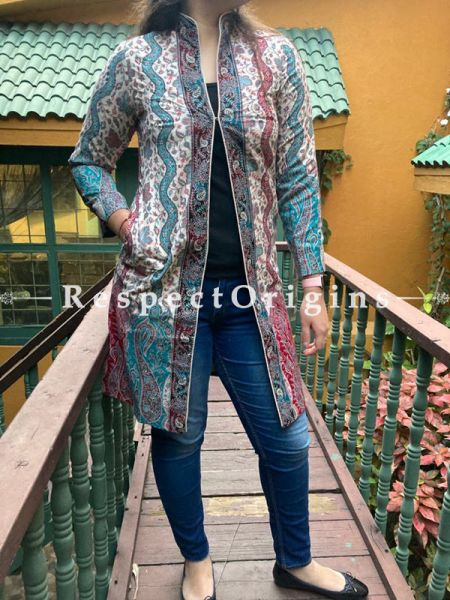 Graceful Floral Design Formal Ladies Designer Detailing Jamavar Multi-Coloured Jacket in Cotton Silk Blend; Silken Lining; RespectOrigins.com