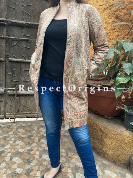 Multi-Coloured Floral Design Formal Ladies Designer Detailing Jamavar Jacket in Cotton Silk Blend; Silken Lining; RespectOrigins.com