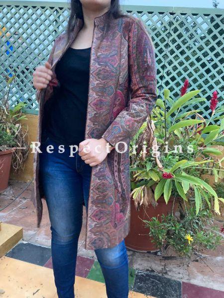 Bewitching Floral Design Formal Ladies Designer Detailing Jamavar Multi-Coloured Jacket in Cotton Silk Blend; Silken Lining; RespectOrigins.com