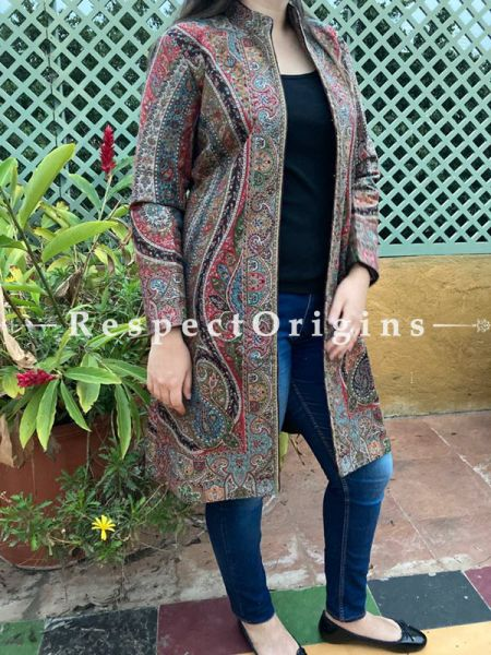 Lovely Floral Design Formal Ladies Designer Detailing Jamavar Multi-Coloured Jacket in Cotton Silk Blend; Silken Lining; RespectOrigins.com