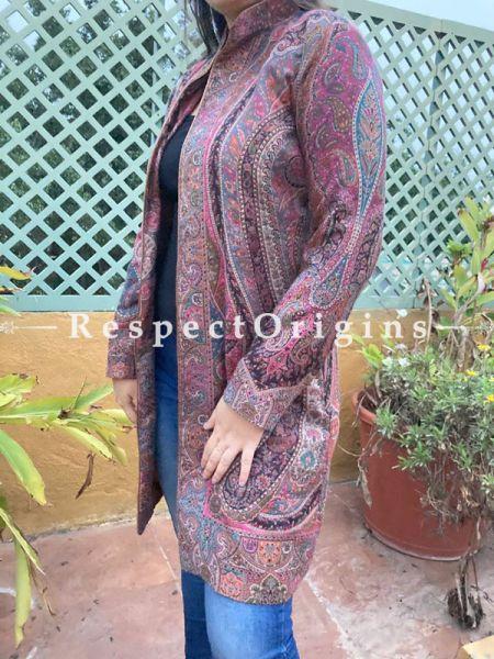 Pink-Purple Base Floral Design Formal Ladies Designer Detailing Jamavar Jacket in Cotton Silk Blend; Silken Lining; RespectOrigins.com