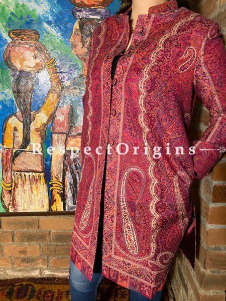 Classy Floral Design Formal Ladies Designer Detailing Pink Jamavar Jacket in cotton silk Blend; Silken Lining; RespectOrigins.com